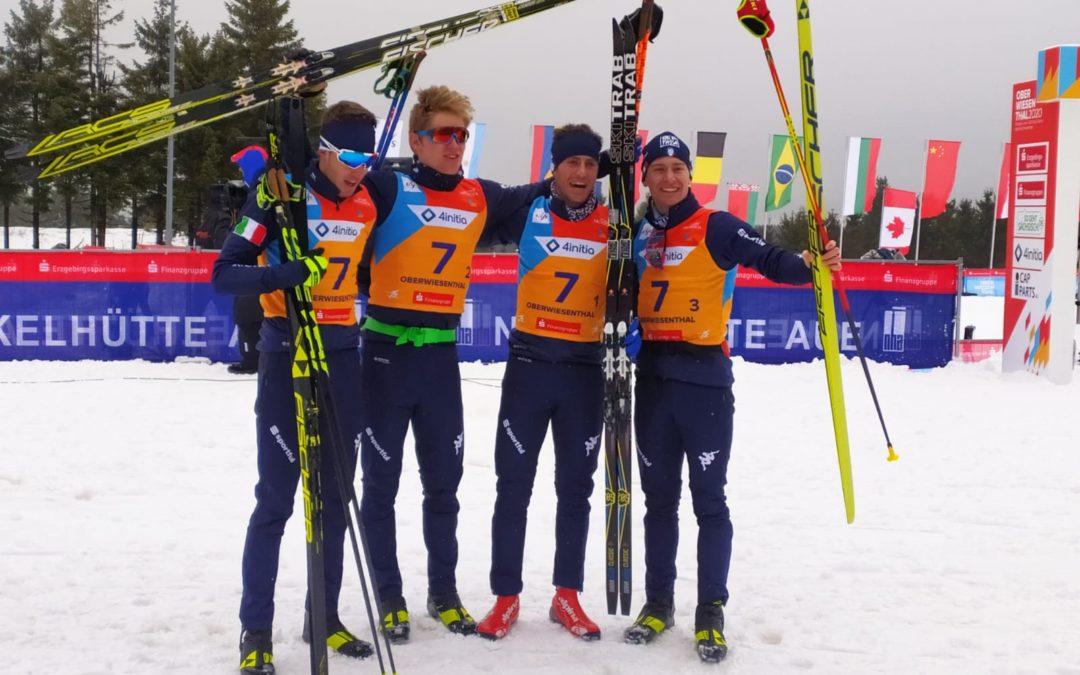 Gasperi, Graz, Ticcò e Manzoni sono di bronzo nella staffetta dei mondiali junior di Oberwiesenthal
